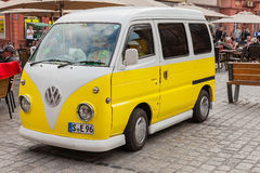 An old VW Bulli in the marketplace of Heidelberg. Royalty Free Stock Images