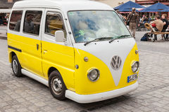 An old VW Bulli in the marketplace of Heidelberg. Royalty Free Stock Photos