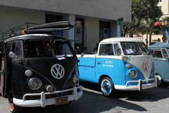 Old VW microbuses parked Royalty Free Stock Photo