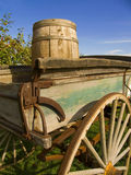Old wagon. Old wooden wagon and barrel in an apple orchard royalty free stock image