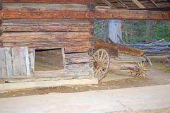 Old wagon in an Amish cellar. Old wooden wagon in a traditional Amish cellar royalty free stock photos