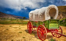 Old wagon in British Columbia Canada stock photo