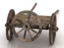 Old wagon cart with wooden wheels  Stock Photography