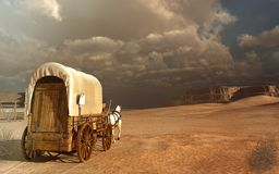 Old wagon in the desert Stock Photos
