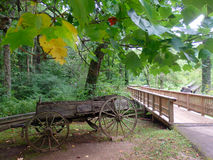 An old wagon on display at mabry mill Stock Photos