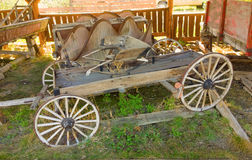An old wagon on display at an outdoor museum in northern canada Stock Images