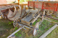 An old wagon on display at an outdoor museum in northern canada Stock Photo