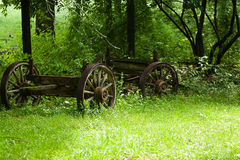 An old wagon in a field Stock Image
