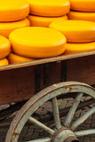 Old wagon filled with Dutch cheese Royalty Free Stock Images