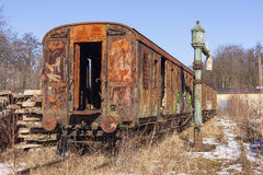 Old wagon on a railway siding Stock Photos