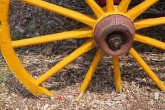 Old yellow wagon wheel Stock Image