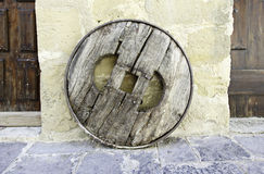 Old Wagon Wheel. Close-up, old medieval wheel Royalty Free Stock Images