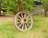 An old wagon wheel from a farm buggy Stock Image
