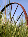Old Wagon Wheel In Grass Stock Image