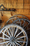 Old Wagon Wheels. Photo of old wheels in a workshop Stock Images