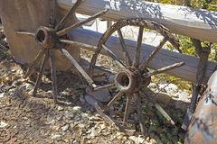 Old wagon wheels Royalty Free Stock Image