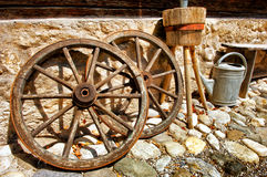 Old wagon wheels Royalty Free Stock Photo