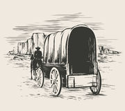 Old wagon in wild west prairies. Pioneer on horse transportation cart, vector illustration royalty free illustration