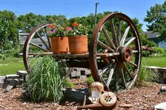 Old wooden wagon wheels on a cart holding flower pots stock images