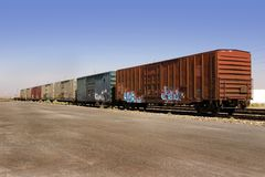 Old Wagons with Graffiti Royalty Free Stock Photos