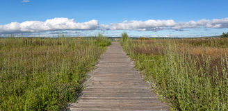 Old walkway towards blue cloudy sky Royalty Free Stock Photo
