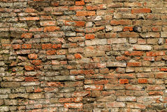 Old wall. Old and discarded brick wall background in red and yellow color Stock Images