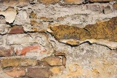 Old wall. Old brickwall falling apart, rough texture closeup Stock Image