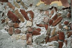 Old wall. With some red bricks Stock Photo