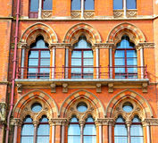 old wall architecture in london england windows and brick exteri Stock Photography