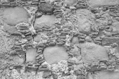 Old Wall of Big and Small Stones. Gray Stones. Gray background. Background of the Old Gray Stones. For Design, Decoration and stock photos
