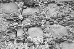 Old Wall of Big and Small Stones. Gray Stones. Gray background stock images