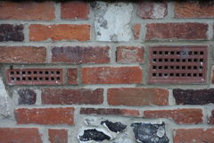 Old wall with breathing vents Royalty Free Stock Images