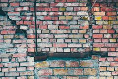 Old wall. Old brick cracked wall. For backround and texture stock photos