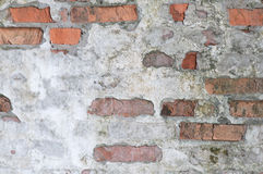 Old Wall. Brick wall with damaged plaster Royalty Free Stock Photos