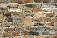 Old wall bricks and scratched cement background Stock Photo