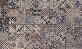 Old wall ceramic tiles patterns handcraft. From thailand parks public stock photography