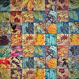 Old wall ceramic tiles patterns handcraft from thailand parks public. Art Royalty Free Stock Photography