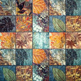 Old wall ceramic tiles patterns handcraft from thailand public. Old wall ceramic tiles patterns handcraft from thailand public Stock Photography