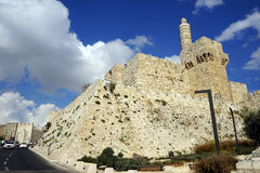 Old wall. Wall of Old city of Jerusalem in Israel Stock Photography