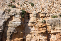 Old wall on the cliff Royalty Free Stock Photos