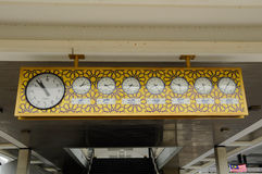 Old wall clock with arabic fond at The National Mosque of Malaysia a.k.a Masjid Negara Stock Photography