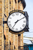 Old wall clock at Camden Lock Market Hall Royalty Free Stock Image