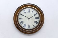 An old wall clock of former times, Lower Austria. In Lower Austria such clocks were used in kitchen and living room in 19th and 20th century royalty free stock images