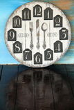 Old  wall clock on wooden floor Royalty Free Stock Image