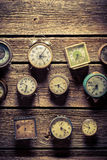 Old wall with clocks. Closeup of old wall with clocks stock images