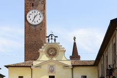 Old wall clocks in historical town center, Soncino Royalty Free Stock Photos