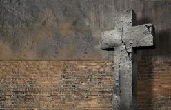 Old Wall With Cross. Made in 3d software Royalty Free Stock Photos