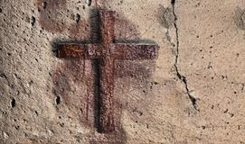 Old Wall With Cross Royalty Free Stock Photography