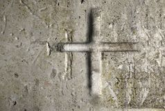 Old Wall With Cross Stock Photos