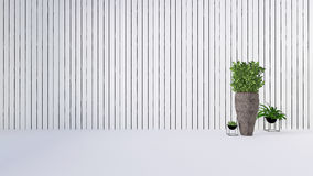 Old wall decor with green plant in vase-3D render Royalty Free Stock Photos